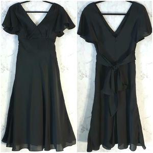 Alfred Sung Deep-V Black Flowy Midi Dress Size 8